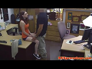 Busty pawnshop teen fingered out the back