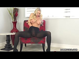 Solo blonde, Katie Morgan can't stop rubbing pussy, in 4K