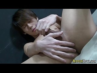 Solo asian twink jizzing
