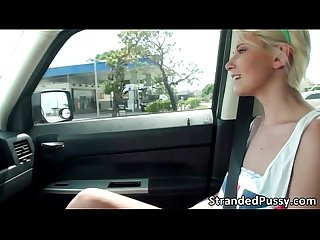 Beautiful blonde Dani Desire gets fucked in the backseat of the car