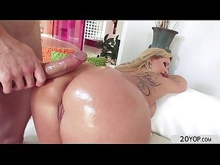 Tattooed blonde milf strips and gets pussy and anal pounded by big dick