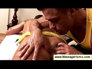 Gay masseur spits in guys butthole