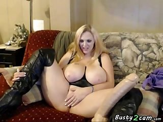 Blonde with giant boobs puts inside her pussy distinct kinds of dildos