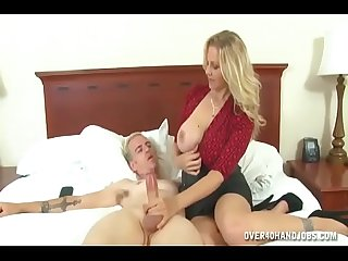 Hot blonde mature hand job