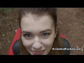 British gal blows dick in forest