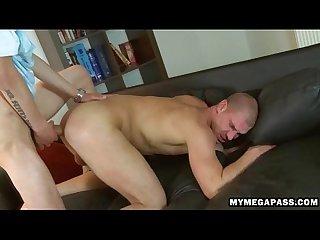 Jock sitting on huge uncut bareback cock