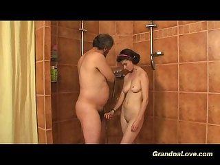 Grandpa fucking a busty babe
