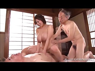Old men get hard to gangbang a huge boobs japanese slut