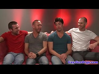 Gaysex hunk sucks cock in front of group