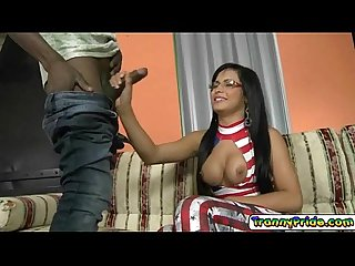 Sexy ts bruna having a taste of a young cock