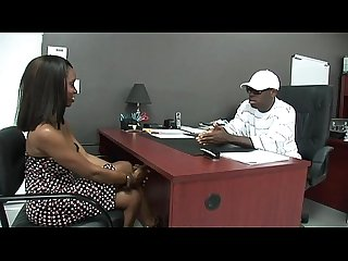 Black stud gets to fuck a hot ebony girl in his office xxblacks com