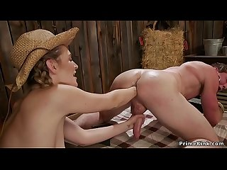 Hot rancher anal fists her help in barn