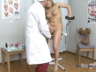 Young blondie has her pussy inspected by gynecologist