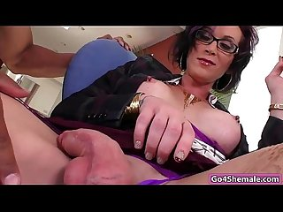 Busty big cock shemale River Stark anal rides on black cock
