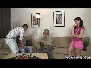 Slutty bitch rides his father S dick