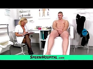 Aged uniform lady doctor koko young boy cfnm handjob at clinic