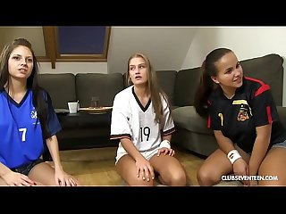 Lucky guy fucks his 3 World Cup cheering teen neighbors!