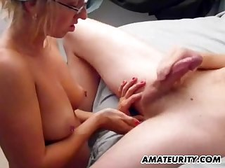Hot amateur girlfriend sucks and fucks with cum on tits