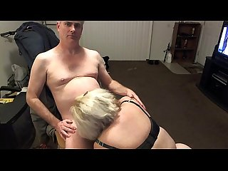 Blond BBW Deepthroat Blowjob Leather Cockring