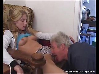 Beautiful Blondie with Long Dick in Her Wet Couch