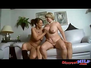 Two busty milfs in a threesome with one lucky guy