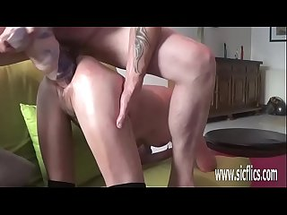 Giant double dildo and ass fucked amateur slut