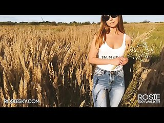 Outdoor Sloppy Blowjob on Sunset in Wheat Field He Cums on her Tits - RosieSkywalker