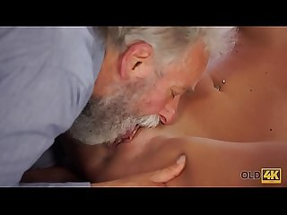 OLD4K. Nice cock of old teacher was main target for slutty beauty