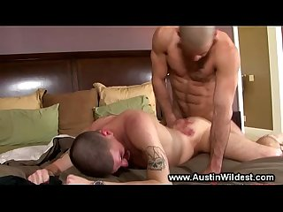 Gay stud gets fucked hard doggystyle in his tight ass