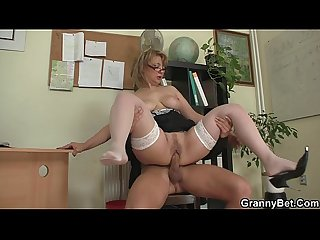 Office woman in white stockings riding his cock