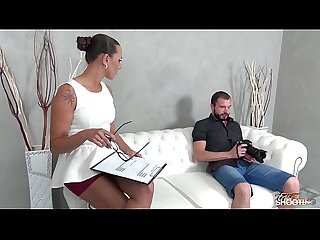 Fakeshooting Mea Melone cum sprayed by her employee on fake casting