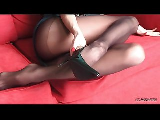 Long luxury legs of redhead MILF LilyWOW in sexy black pantyhose
