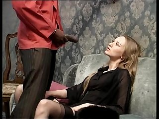 Smoking white slut wants to be fucked by her black servant