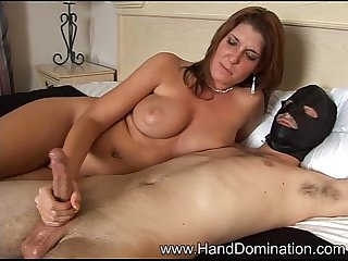 Masked man cummin over milf's face