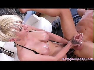 Busty mistress pegging her sub until he cums