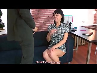 Teen student sucks and does her older teacher