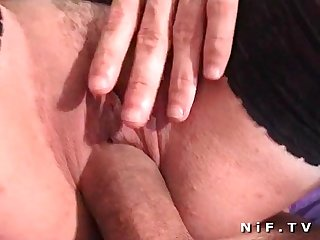 French blonde gets anal fucked and double teamed in foursome
