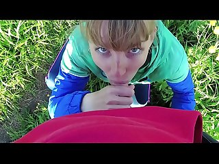 Risky outdoor blowjob and cum in mouth in the park. Amateur couple. Pov