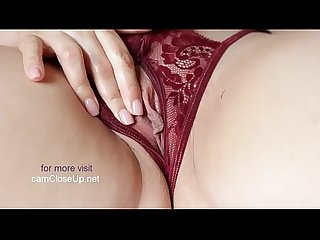 Pink Pussy Closeup Masturbation, Crotchless Panties and Creampie