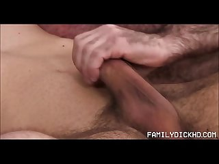 Bear Stepdad Helps Young Stepson With His Huge Cock