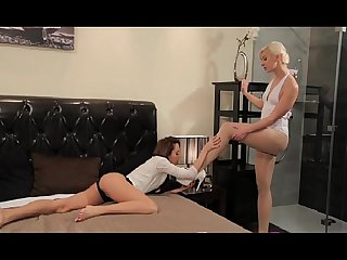 StrapOn Blonde and Brunette lesbians making love with sex toy
