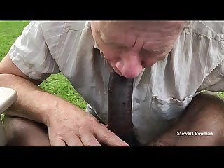 Stewart Sucks off a Beautiful and HUGE Big Black Cock outdoors in his private back yard