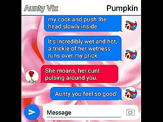 Aunty finally pops her Pumpkin's cherry sexting, their final climax together.