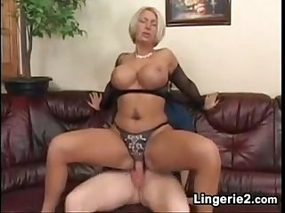 Busty Mature Slut In Lingerie Loves His Cock