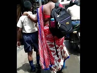 CURVY HIP AND OPEN BACK OF BIHARI WOMAN ON ROAD