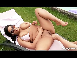 Busty lesbians Anais Hills & Kora fill their shaved wet pussies with toes