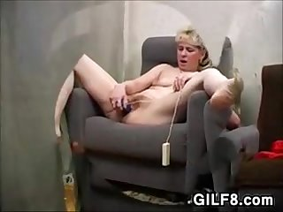 Blonde Grandma Playing With Her Pussy
