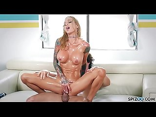 Spizoo - Sarah Jessie oil up and get fucked by a big dick