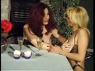 Jessica Rizzo jerking her pussy in a restaurant with a lesbian friend