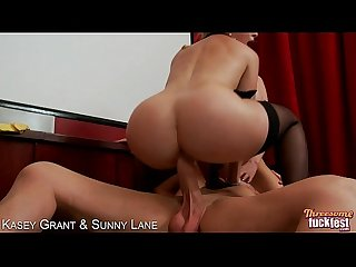 Sexy Kasey Grant and Sunny Lane gets fucked in threesome